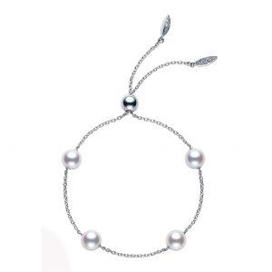 Pulsera Mikimoto ajustable Perlas Akoya, oro blanco 18k y diamantes