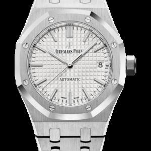 Reloj Audemars Piguet Royal Oak Automático con indicación de la fecha. Caja de acero inoxidable, esfera plateada, brazalete de acero inoxidable.