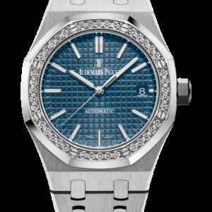 Reloj Audemars Piguet Royal Oak Automático en acero. Esfera Gran Tapicería color azul y brazalete en acero inoxidable.