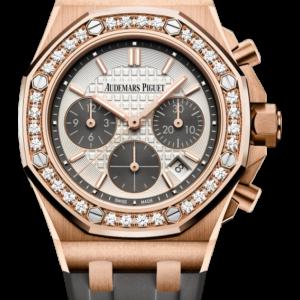 Reloj Audemars Piguet Royal Oak Offshore Cronógrafo Automático oro rosa 18k y diamantes. Esfera Mega Tapicería color plateado e indicador de fecha.