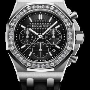 Reloj Audemars Piguet Royal Oak Offshore Cronógrafo Automáticooro acero y diamantes. Esfera Mega Tapicería color negro e indicador de fecha.
