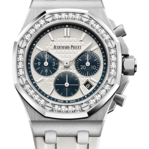 Reloj Audemars Piguet Royal Oak Offshore Cronógrafo Automáticooro acero y diamantes. Esfera Mega Tapicería color blanco e indicador de fecha.