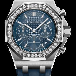 Reloj Audemars Piguet Royal Oak Offshore Cronógrafo Automático acero y diamantes. Esfera Mega Tapicería color azul e indicador de fecha.
