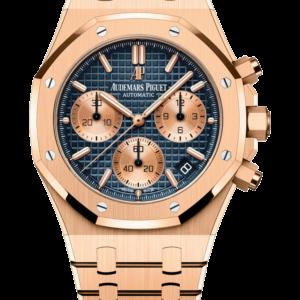 Reloj Audemars Piguet Royal Oak Cronógrafo Automático en oro rosa 18k. Esfera Gran Tapicería color azul e indicador de fecha.
