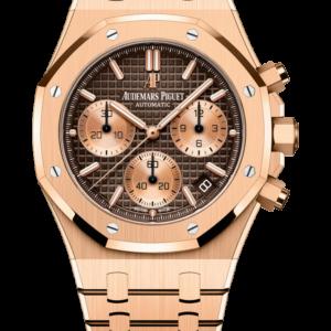 Reloj Audemars Piguet Royal Oak Cronógrafo Automático en oro rosa 18k. Esfera Gran Tapicería color marrón e indicador de fecha.