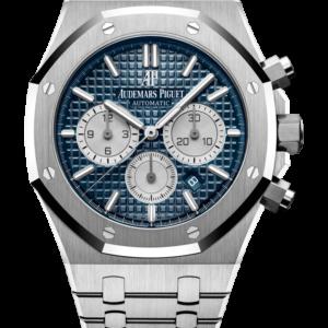 Reloj Audemars Piguet Royal Oak Cronógrafo Automático en acero. Esfera Gran Tapicería color azul e indicador de fecha.