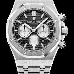 Reloj Audemars Piguet Royal Oak Cronógrafo Automático en acero. Esfera Gran Tapicería color negro e indicador de fecha.