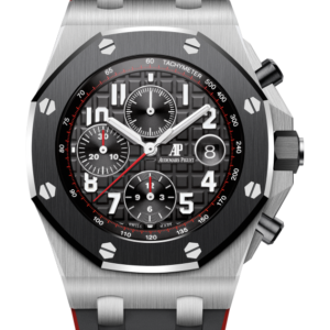 Reloj Audemars Piguet Royal Oak Offshore Cronógrafo Automático en acero y caucho. Esfera Mega Tapicería color negro e indicador de fecha.