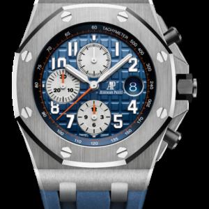 Reloj Audemars Piguet Royal Oak Offshore Cronógrafo Automático en acero y caucho. Esfera Mega Tapicería color azul e indicador de fecha.