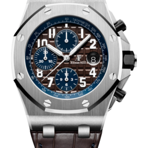 Reloj Audemars Piguet Royal Oak Offshore Cronógrafo Automático en acero y cuero. Esfera Mega Tapicería color marrón e indicador de fecha.