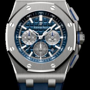 Reloj Audemars Piguet Royal Oak Offshore Cronógrafo Automático en titanio y caucho. Esfera Mega Tapicería color azul e indicador de fecha.
