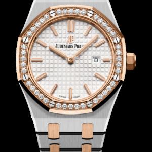 Reloj Audemars Piguet Royal Oak Cuarzo en acero, oro rosa 18k y diamantes. Esfera Gran Tapicería color plateado e indicación de fecha.