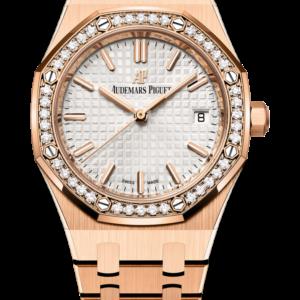 Reloj Audemars Piguet Royal Oak Automático en oro rosa de 18k con diamantes. Esfera Gran Tapicería color plateado coronada con un bisel engastado con 40 diamantes talla brillante.