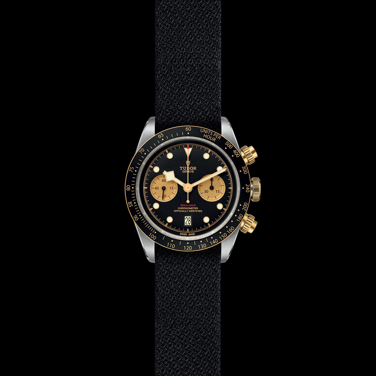 Reloj Tudor Black Bay Chrono Automático en acero y oro amarillo 18k. Esfera negra e indicador de fecha.